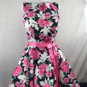 Angela & Alison Black Floral Dress